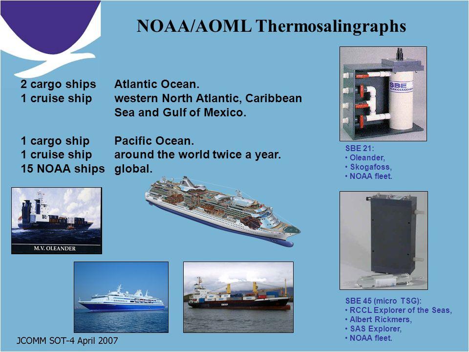 NOAA/AOML Thermosalingraphs SBE 21: Oleander, Skogafoss, NOAA fleet.