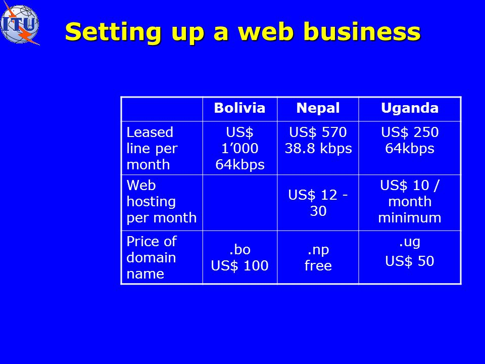 Setting up a web business BoliviaNepalUganda Leased line per month US$ kbps US$ kbps US$ kbps Web hosting per month US$ US$ 10 / month minimum Price of domain name.bo US$ 100.np free.ug US$ 50