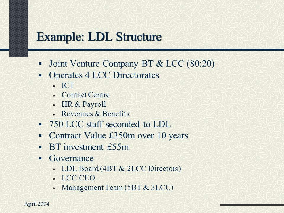 April 2004 Example: LDL Structure Joint Venture Company BT & LCC (80:20) Operates 4 LCC Directorates ICT Contact Centre HR & Payroll Revenues & Benefits 750 LCC staff seconded to LDL Contract Value £350m over 10 years BT investment £55m Governance LDL Board (4BT & 2LCC Directors) LCC CEO Management Team (5BT & 3LCC)