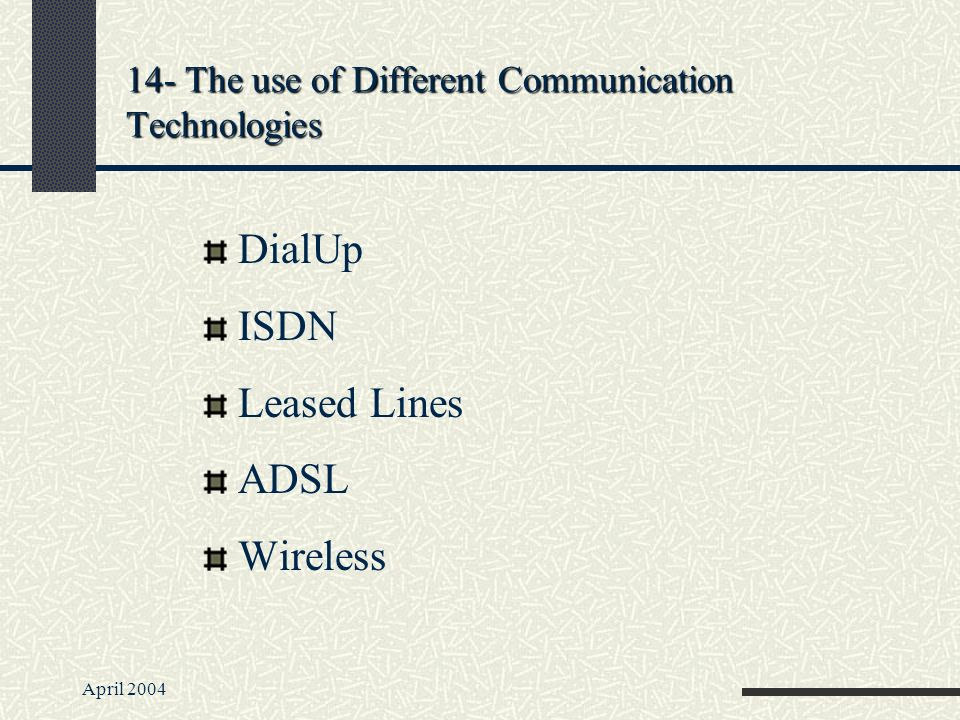 April 2004 14- The use of Different Communication Technologies DialUp ISDN Leased Lines ADSL Wireless