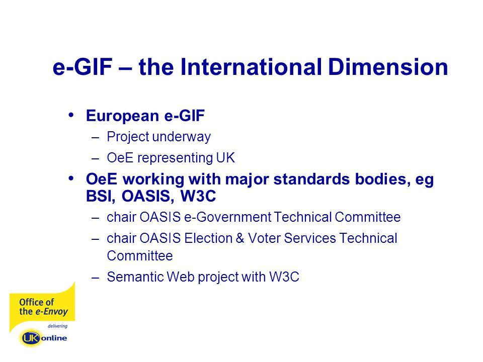 e-GIF – the International Dimension European e-GIF –Project underway –OeE representing UK OeE working with major standards bodies, eg BSI, OASIS, W3C