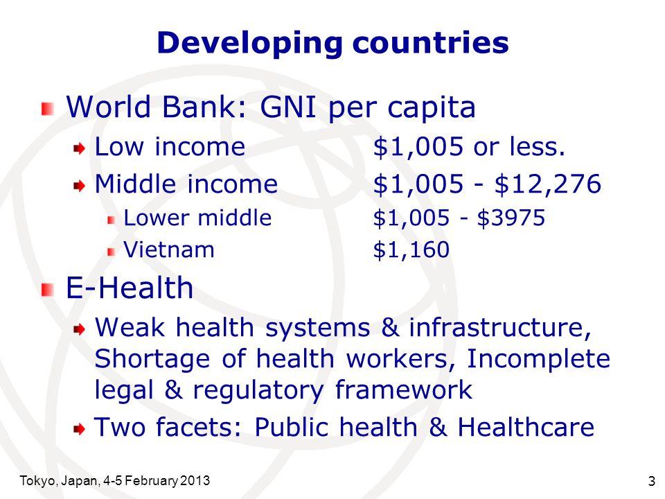 Tokyo, Japan, 4-5 February 2013 4 Vietnam - Characteristics VNLMI Urban population29%39% Adult literacy rate93%71% Health expd./ GDP6.9%4.4% Physicians/ 10K12.27.8 Nursing personnel10.115.1 Pharma.