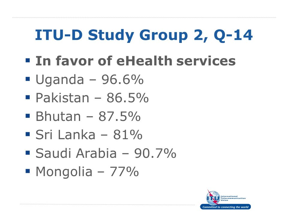 ITU-D Study Group 2, Q-14 In favor of eHealth services Uganda – 96.6% Pakistan – 86.5% Bhutan – 87.5% Sri Lanka – 81% Saudi Arabia – 90.7% Mongolia –
