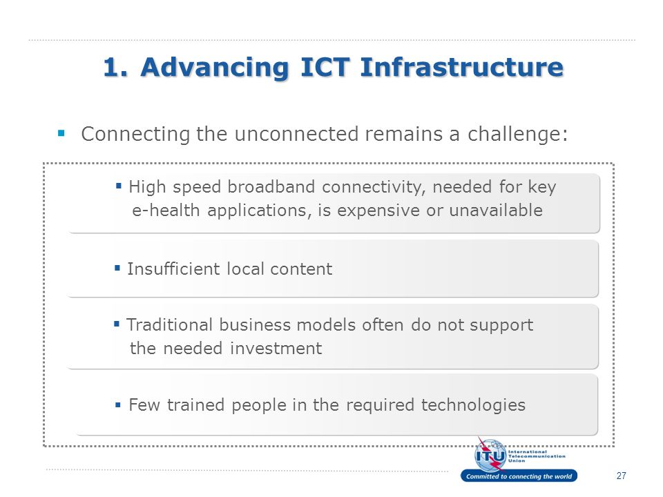 1. Advancing ICT Infrastructure Connecting the unconnected remains a challenge: 27 High speed broadband connectivity, needed for key e-health applicat