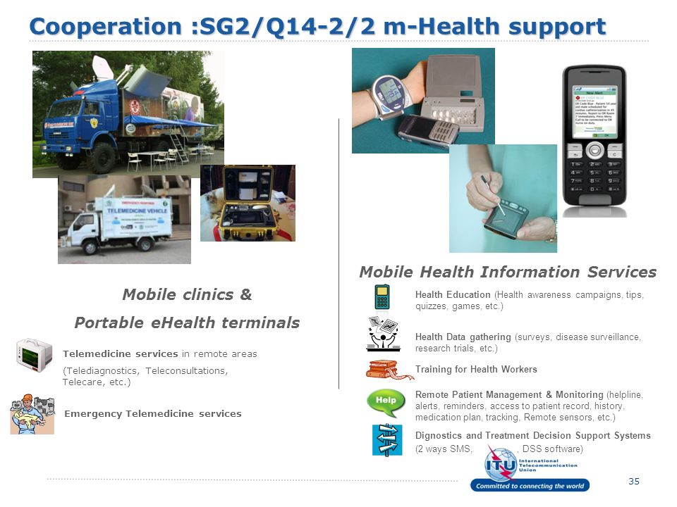 35 Mobile clinics & Portable eHealth terminals Mobile Health Information Services Telemedicine services in remote areas (Telediagnostics, Teleconsulta