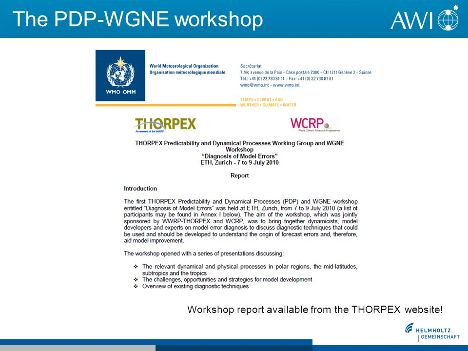 The PDP-WGNE workshop Workshop report available from the THORPEX website!