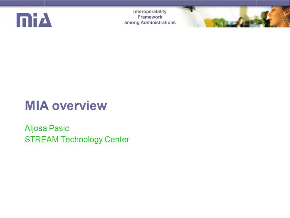 MIA overview Aljosa Pasic STREAM Technology Center