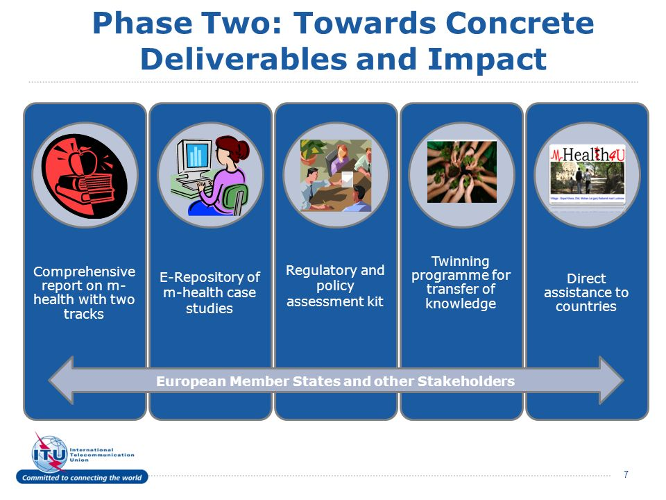 Phase Two: Towards Concrete Deliverables and Impact 7 Comprehensive report on m- health with two tracks E-Repository of m-health case studies Regulato
