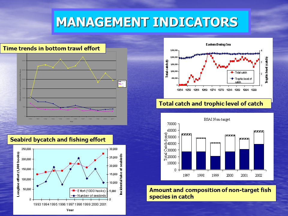 MANAGEMENT INDICATORS Time trends in bottom trawl effort Total catch and trophic level of catch Amount and composition of non-target fish species in catch Seabird bycatch and fishing effort