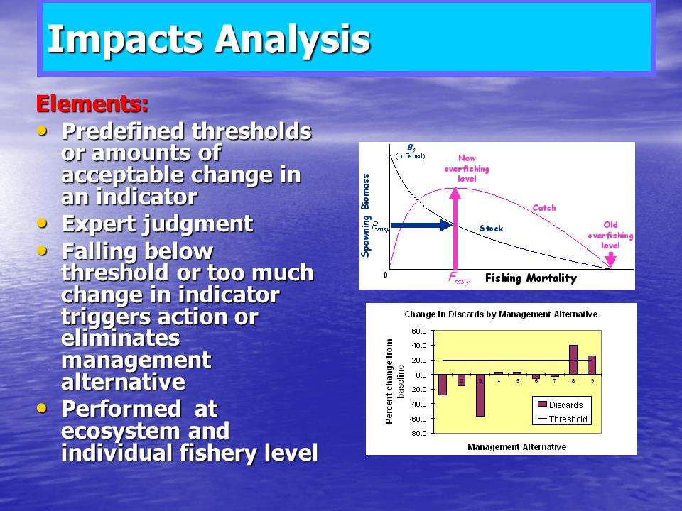 Impacts Analysis Elements: Predefined thresholds or amounts of acceptable change in an indicator Predefined thresholds or amounts of acceptable change in an indicator Expert judgment Expert judgment Falling below threshold or too much change in indicator triggers action or eliminates management alternative Falling below threshold or too much change in indicator triggers action or eliminates management alternative Performed at ecosystem and individual fishery level Performed at ecosystem and individual fishery level