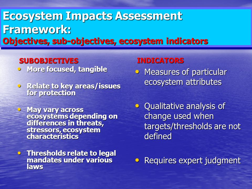 Ecosystem Impacts Assessment Framework: Objectives, sub-objectives, ecosystem indicators SUBOBJECTIVES SUBOBJECTIVES More focused, tangible More focused, tangible Relate to key areas/issues for protection Relate to key areas/issues for protection May vary across ecosystems depending on differences in threats, stressors, ecosystem characteristics May vary across ecosystems depending on differences in threats, stressors, ecosystem characteristics Thresholds relate to legal mandates under various laws Thresholds relate to legal mandates under various laws INDICATORS INDICATORS Measures of particular ecosystem attributes Measures of particular ecosystem attributes Qualitative analysis of change used when targets/thresholds are not defined Qualitative analysis of change used when targets/thresholds are not defined Requires expert judgment Requires expert judgment