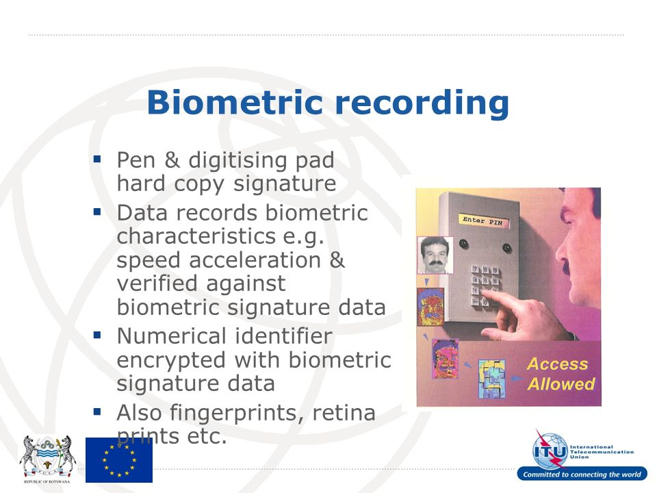 Biometric recording Pen & digitising pad hard copy signature Data records biometric characteristics e.g.