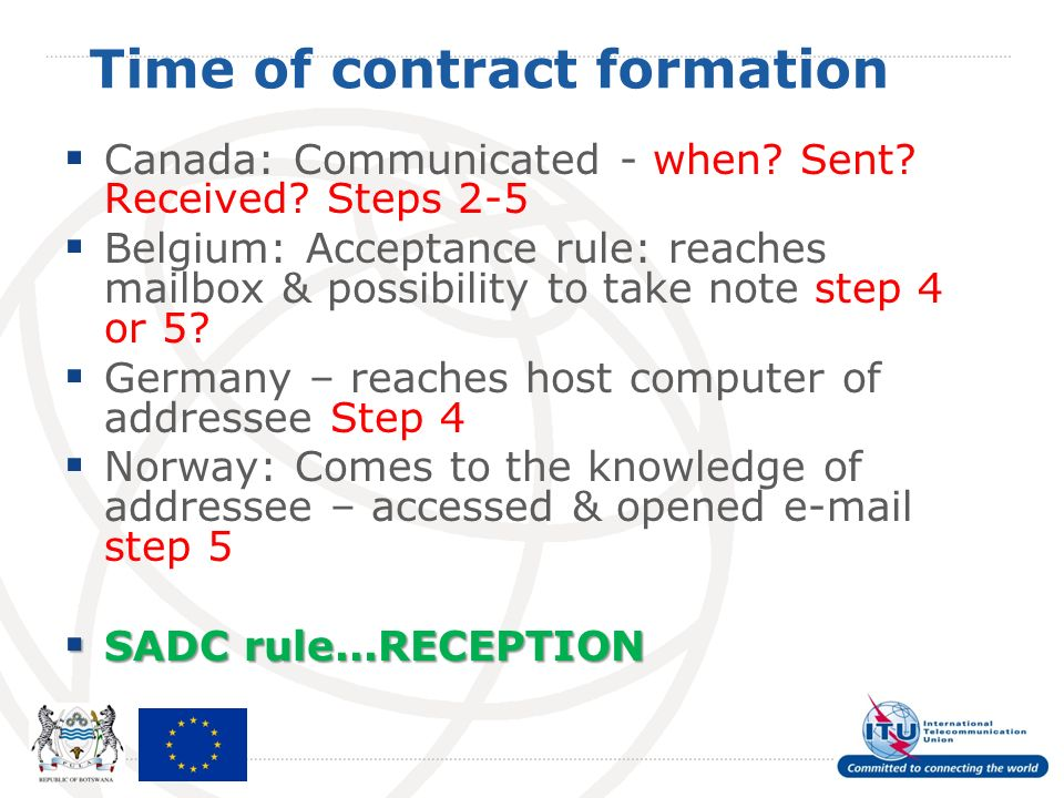 Time of contract formation Canada: Communicated - when? Sent? Received? Steps 2-5 Belgium: Acceptance rule: reaches mailbox & possibility to take note
