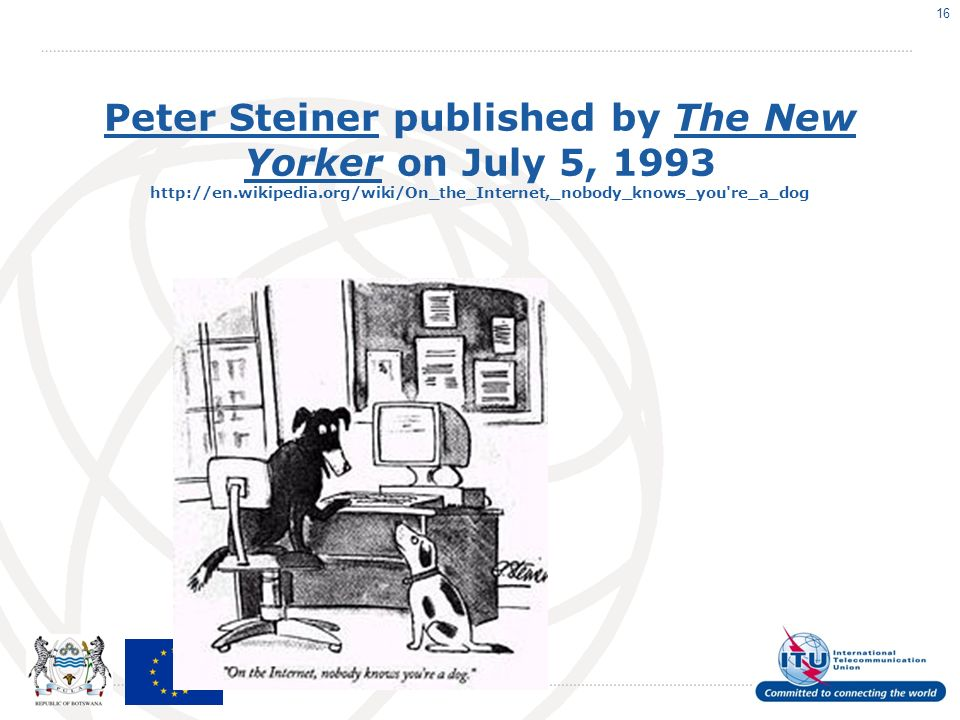 Peter SteinerPeter Steiner published by The New Yorker on July 5, re_a_dogThe New Yorker 16