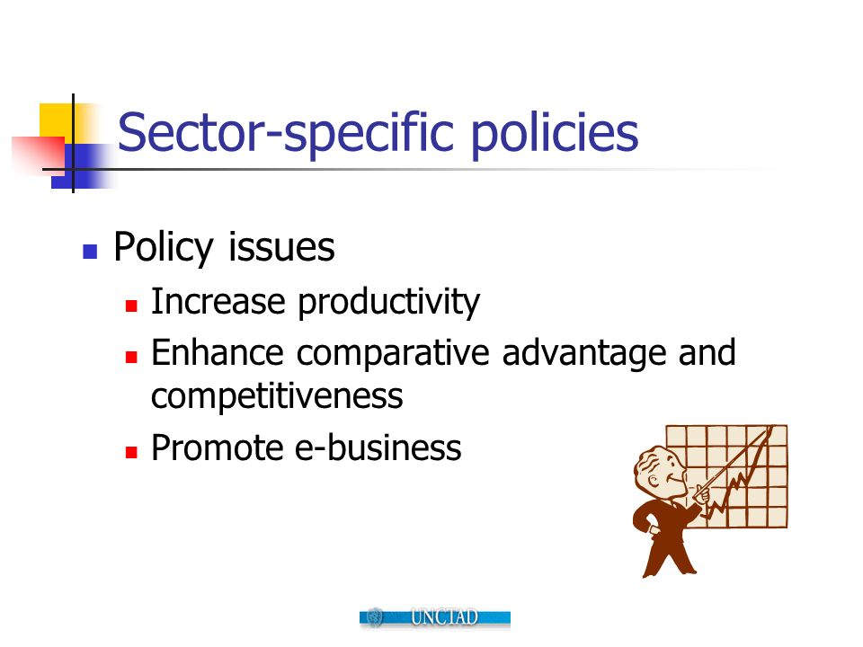 Sector-specific policies Policy issues Increase productivity Enhance comparative advantage and competitiveness Promote e-business