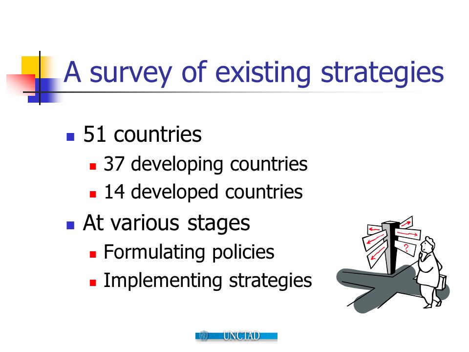 A survey of existing strategies 51 countries 37 developing countries 14 developed countries At various stages Formulating policies Implementing strate
