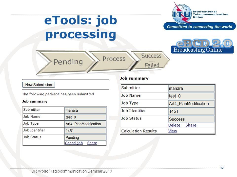 BR World Radiocommunication Seminar 2010 12 eTools: job processing