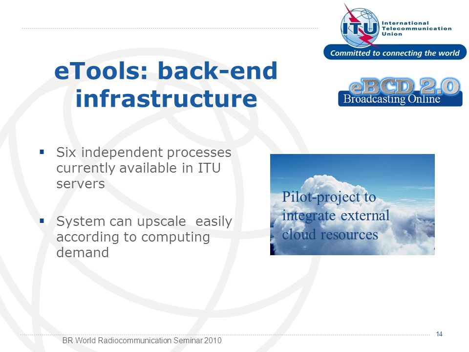BR World Radiocommunication Seminar 2010 Six independent processes currently available in ITU servers System can upscale easily according to computing demand 14 eTools: back-end infrastructure Pilot-project to integrate external cloud resources