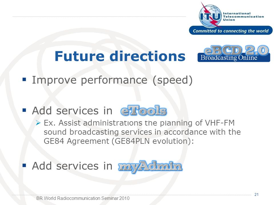 BR World Radiocommunication Seminar 2010 Future directions Improve performance (speed) Add services in Ex.