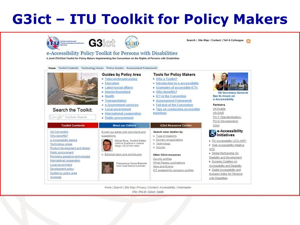 G3ict – ITU Toolkit for Policy Makers