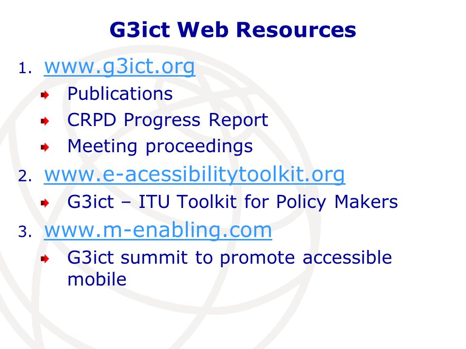 G3ict Web Resources 1.