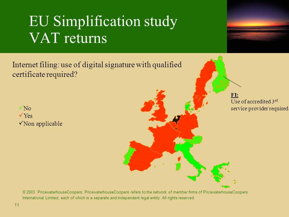 11 EU Simplification study VAT returns © 2003 PricewaterhouseCoopers. PricewaterhouseCoopers refers to the network of member firms of PricewaterhouseC