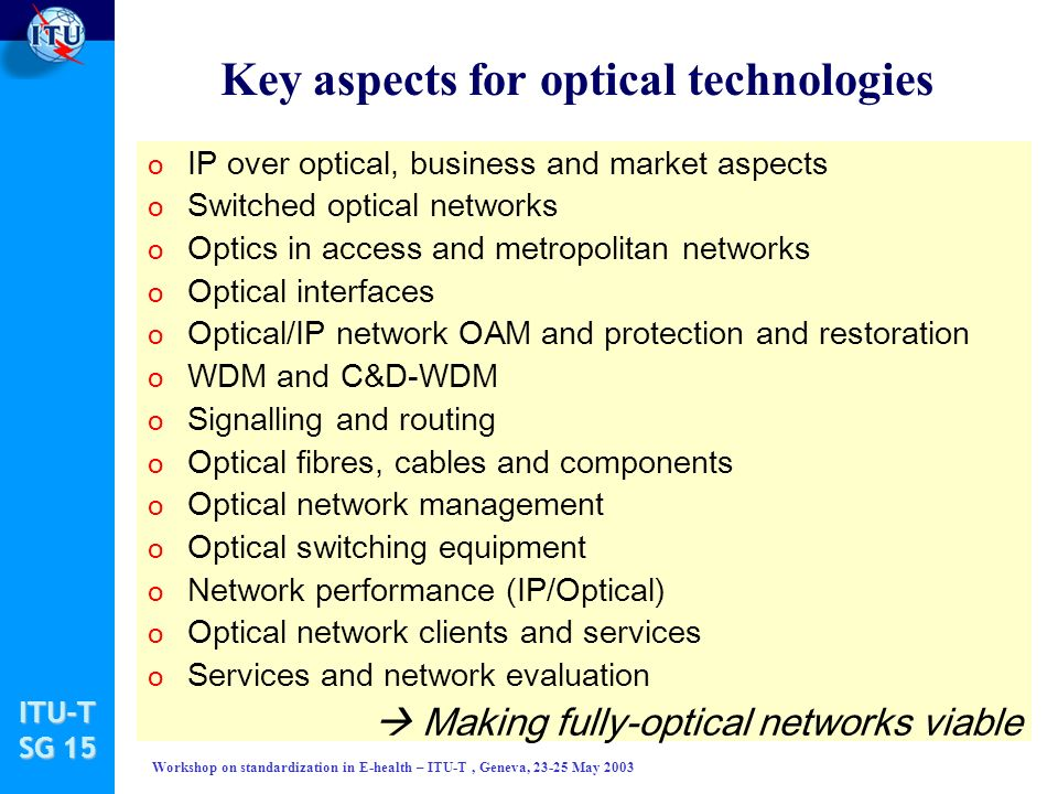 ITU-T SG 15 Workshop on standardization in E-health – ITU-T, Geneva, 23-25 May 2003 Key aspects for optical technologies o IP over optical, business and market aspects o Switched optical networks o Optics in access and metropolitan networks o Optical interfaces o Optical/IP network OAM and protection and restoration o WDM and C&D-WDM o Signalling and routing o Optical fibres, cables and components o Optical network management o Optical switching equipment o Network performance (IP/Optical) o Optical network clients and services o Services and network evaluation Making fully-optical networks viable