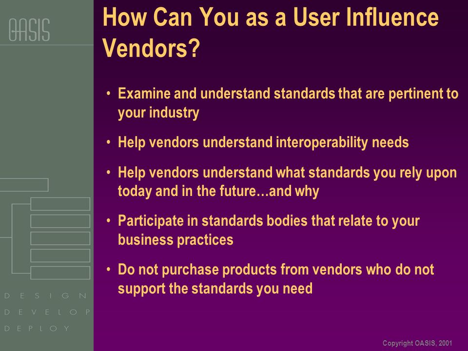 Copyright OASIS, 2001 How Can You as a User Influence Vendors? Examine and understand standards that are pertinent to your industry Help vendors under