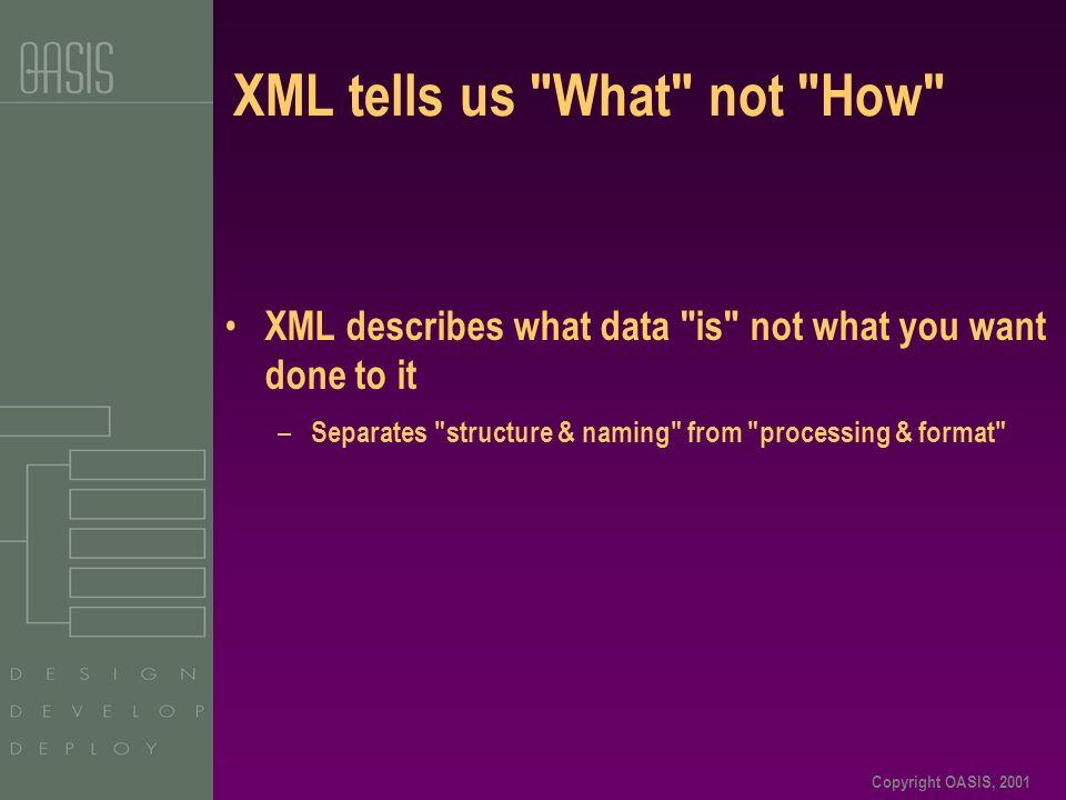 Copyright OASIS, 2001 XML tells us