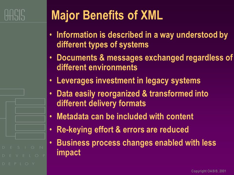 Copyright OASIS, 2001 Major Benefits of XML Information is described in a way understood by different types of systems Documents & messages exchanged