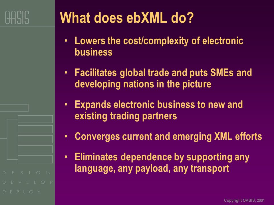Copyright OASIS, 2001 What does ebXML do? Lowers the cost/complexity of electronic business Facilitates global trade and puts SMEs and developing nati