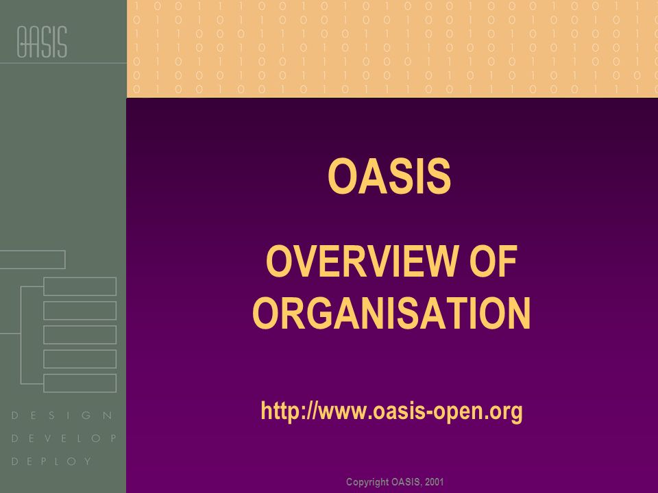 Copyright OASIS, 2001 OASIS OVERVIEW OF ORGANISATION http://www.oasis-open.org