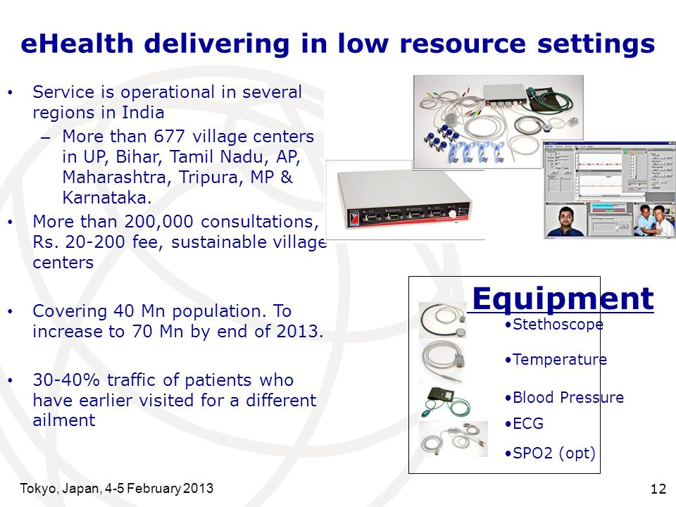 eHealth delivering in low resource settings Tokyo, Japan, 4-5 February 2013 12 Service is operational in several regions in India – More than 677 village centers in UP, Bihar, Tamil Nadu, AP, Maharashtra, Tripura, MP & Karnataka.