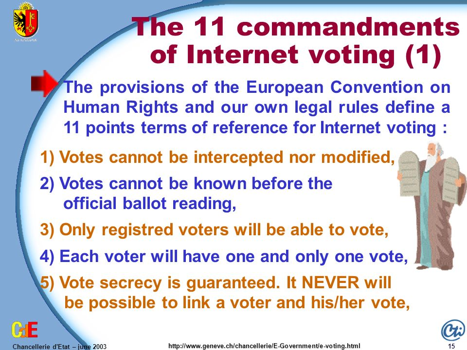 Chancellerie d'Etat – june 2003 15 http://www.geneve.ch/chancellerie/E-Government/e-voting.html The 11 commandments of Internet voting (1) The provisi