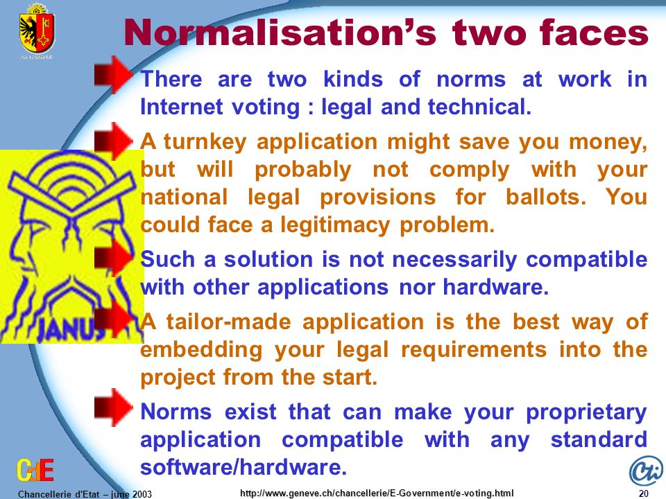 Chancellerie d'Etat – june 2003 20 http://www.geneve.ch/chancellerie/E-Government/e-voting.html Normalisations two faces There are two kinds of norms