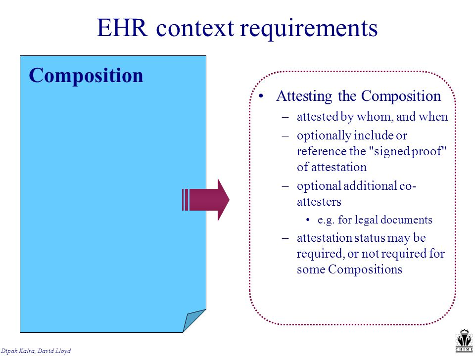 EHR context requirements Composition Attesting the Composition –attested by whom, and when –optionally include or reference the signed proof of attestation –optional additional co- attesters e.g.