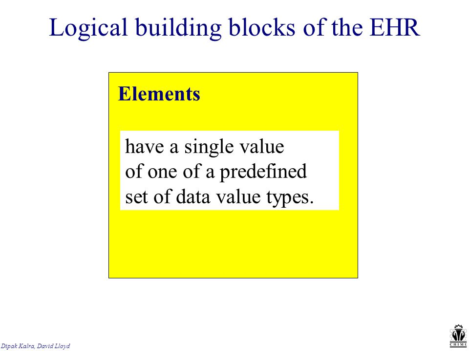 Dipak Kalra, David Lloyd Logical building blocks of the EHR Elements have a single value of one of a predefined set of data value types.
