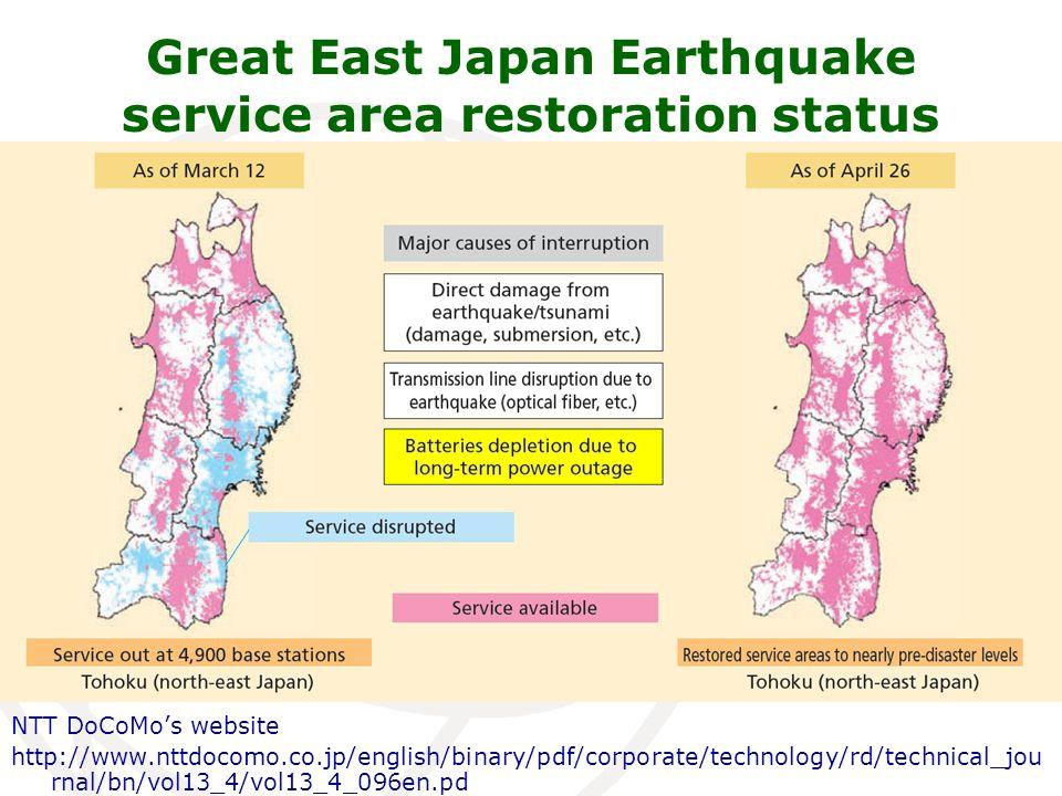 NTT DoCoMos website http://www.nttdocomo.co.jp/english/binary/pdf/corporate/technology/rd/technical_jou rnal/bn/vol13_4/vol13_4_096en.pd Great East Japan Earthquake service area restoration status