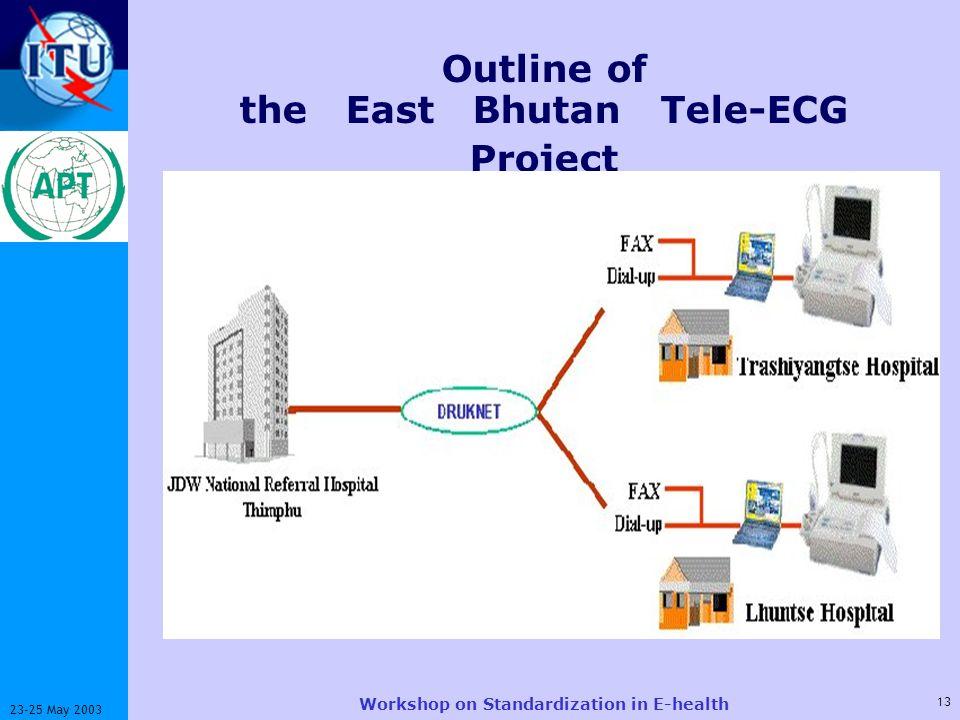 ITU-T 13 23-25 May 2003 Workshop on Standardization in E-health Outline of the East Bhutan Tele-ECG Project