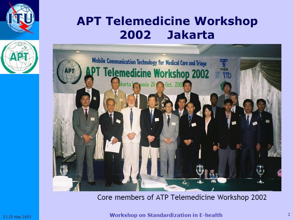 ITU-T 2 23-25 May 2003 Workshop on Standardization in E-health APT Telemedicine Workshop 2002 Jakarta Core members of ATP Telemedicine Workshop 2002