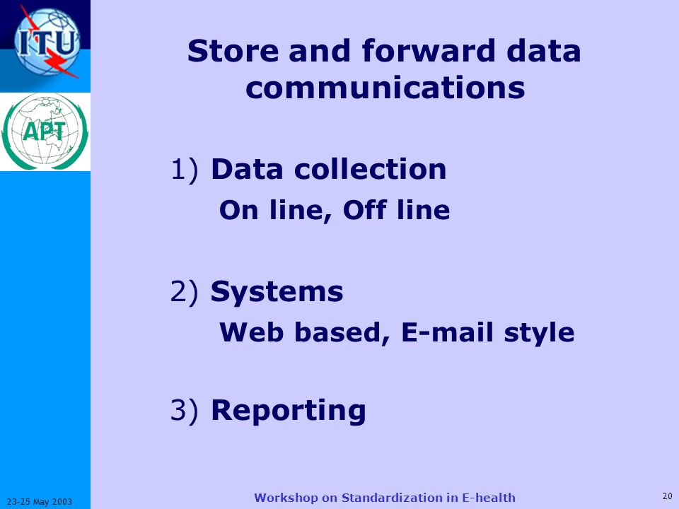 ITU-T 20 23-25 May 2003 Workshop on Standardization in E-health Store and forward data communications 1) Data collection On line, Off line 2) Systems Web based, E-mail style 3) Reporting