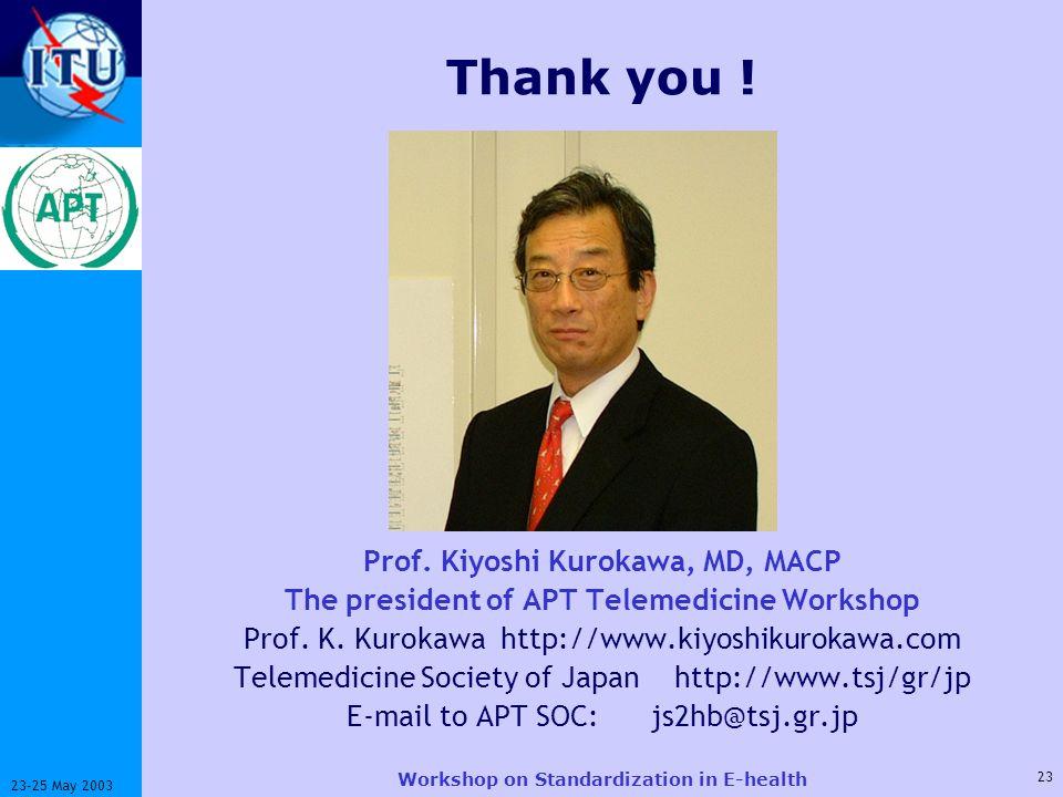 ITU-T 23 23-25 May 2003 Workshop on Standardization in E-health Thank you .