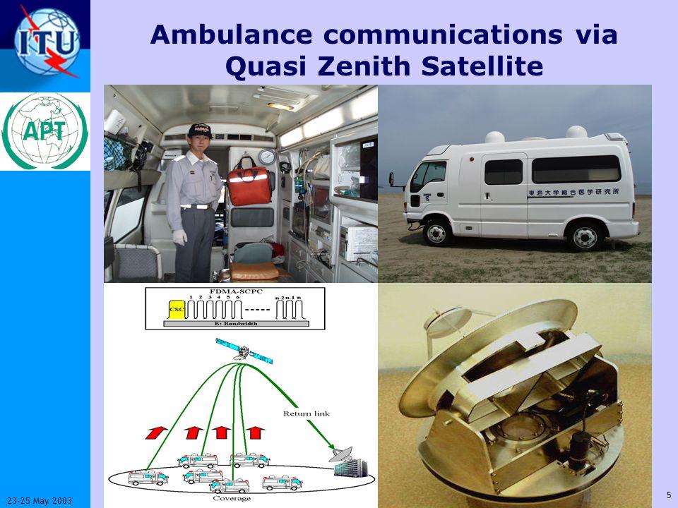 ITU-T 5 23-25 May 2003 Workshop on Standardization in E-health Ambulance communications via Quasi Zenith Satellite