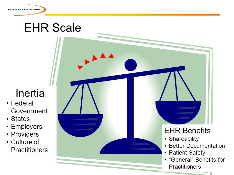 Inertia Federal Government States Employers Providers Culture of Practitioners EHR Benefits Shareability Better Documentation Patient Safety General Benefits for Practitioners EHR Scale