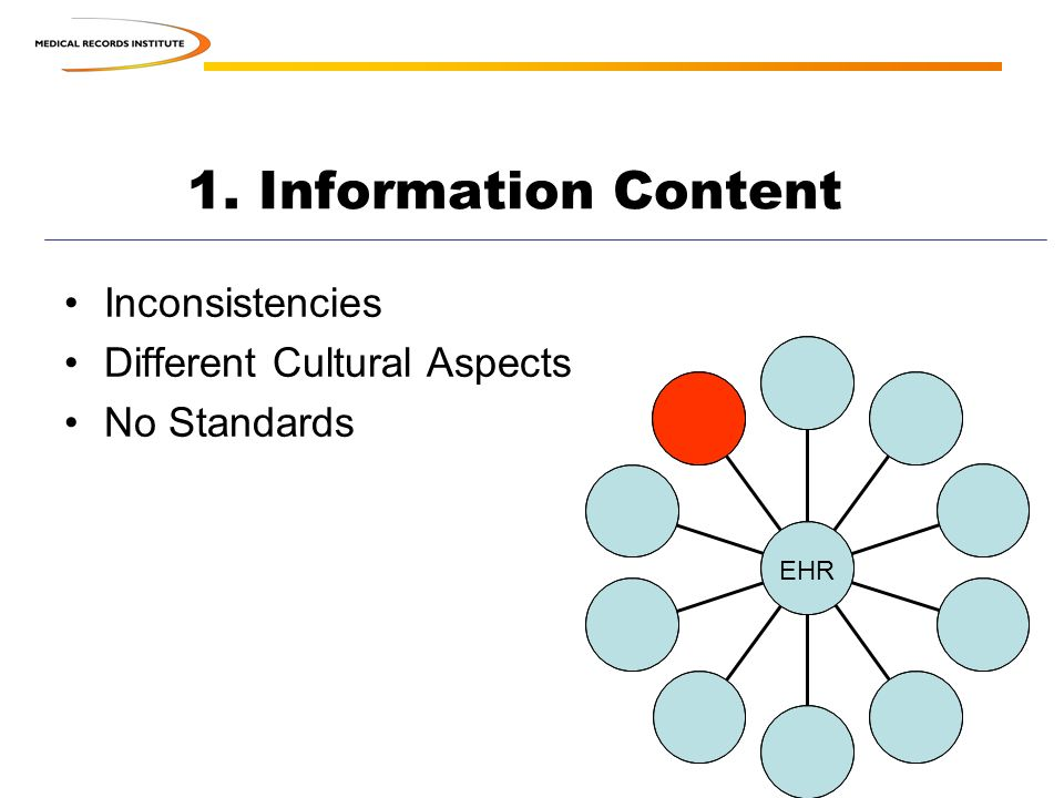 1. Information Content Inconsistencies Different Cultural Aspects No Standards EHR