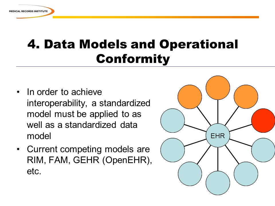 4. Data Models and Operational Conformity In order to achieve interoperability, a standardized model must be applied to as well as a standardized data