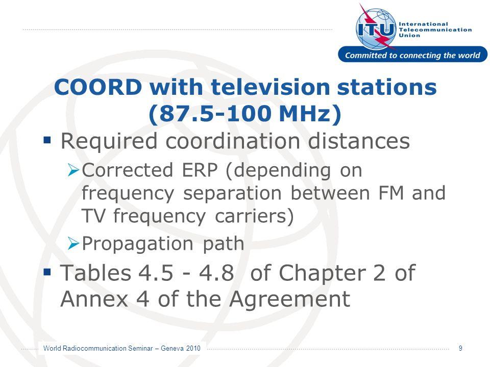 World Radiocommunication Seminar – Geneva 2010 10 COORD with aeronautical radionavigation services Distance to the nearest point on the boundary < 500 km
