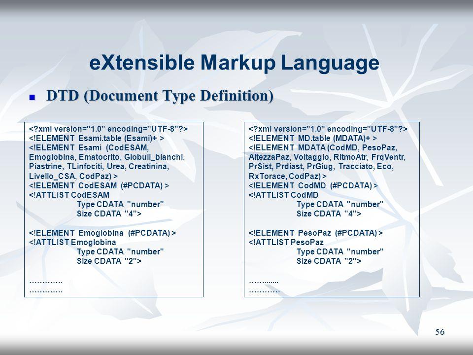 56 DTD (Document Type Definition) DTD (Document Type Definition) eXtensible Markup Language <!ATTLIST CodMD Type CDATA