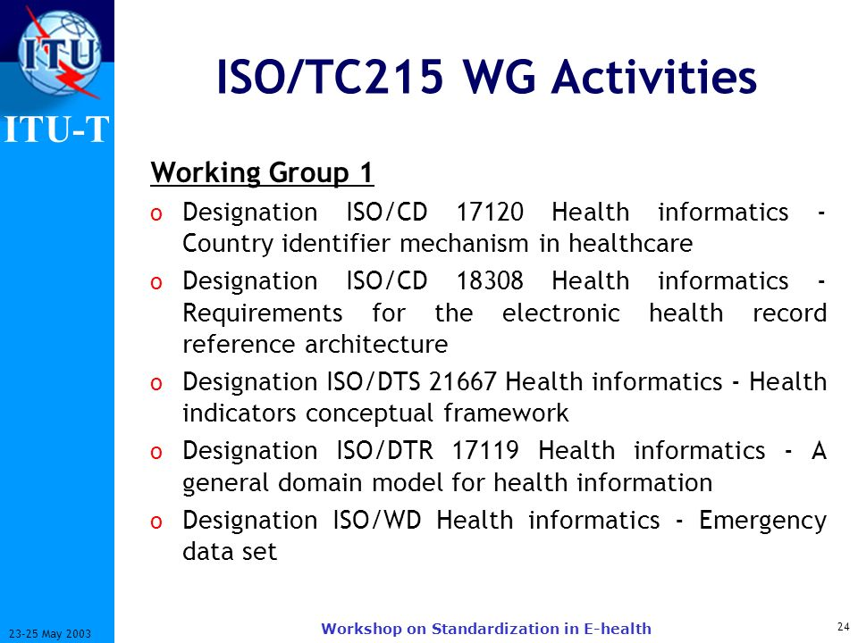 ITU-T 24 23-25 May 2003 Workshop on Standardization in E-health ISO/TC215 WG Activities Working Group 1 o Designation ISO/CD 17120 Health informatics