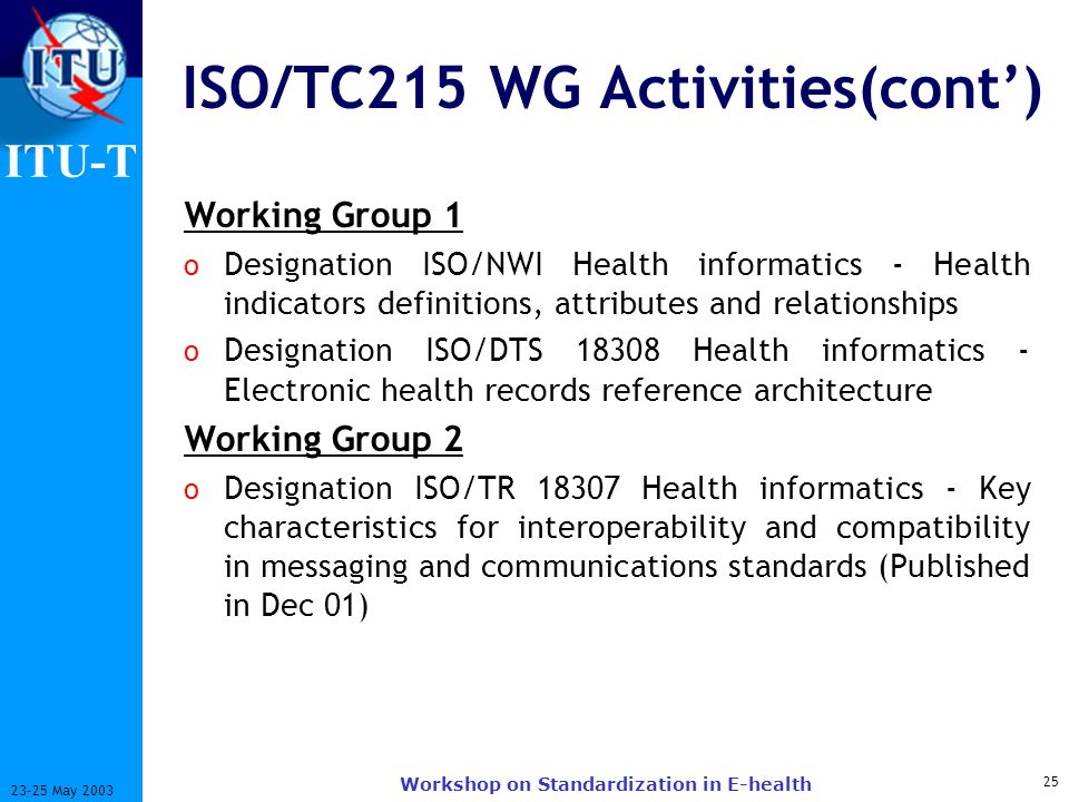 ITU-T 25 23-25 May 2003 Workshop on Standardization in E-health ISO/TC215 WG Activities(cont) Working Group 1 o Designation ISO/NWI Health informatics